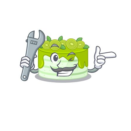 Smart Mechanic kiwi cake cartoon character design Illustration