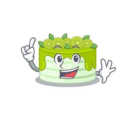 mascot cartoon concept kiwi cake in One Finger gesture