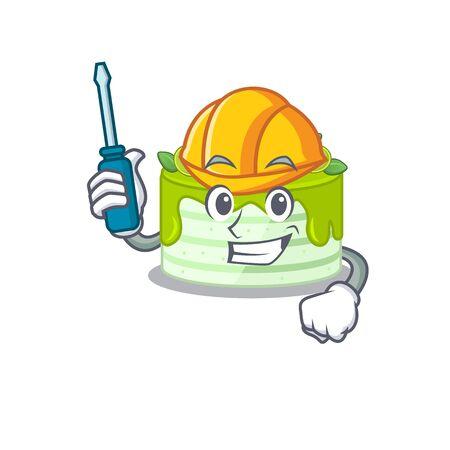 cartoon character style kiwi cake working as an automotive