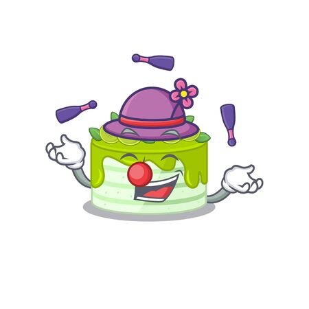 a lively kiwi cake cartoon character design playing Juggling Vectores