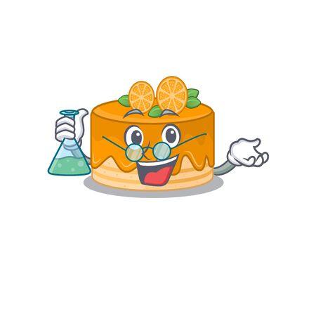 Cool orange cake Professor cartoon character with glass tube