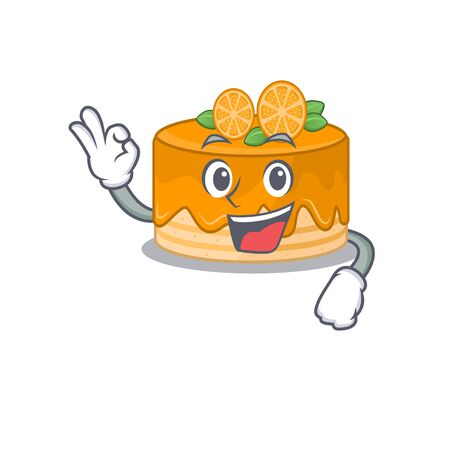 A funny picture of orange cake making an Okay gesture. Vector illustration