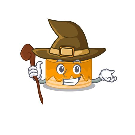 a mascot concept of orange cake performed as a witch