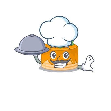 A picture of orange cake as a Chef serving food on tray. Vector illustration Foto de archivo - 140178242