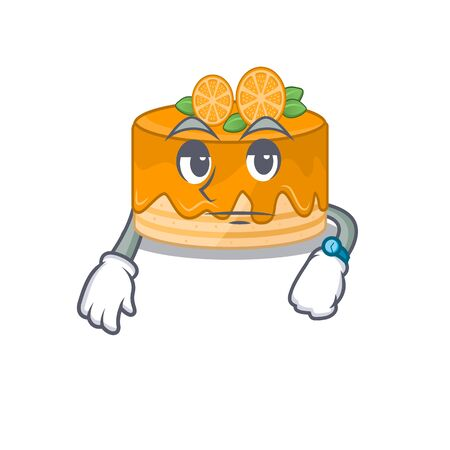 cartoon character design of orange cake on a waiting gesture. Vector illustration