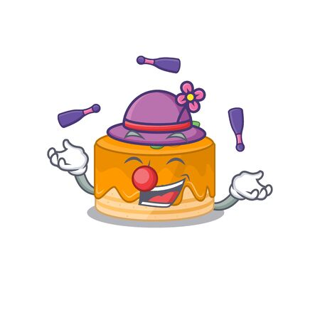 a lively orange cake cartoon character design playing Juggling. Vector illustration