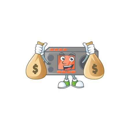 A cute image of radio transceiver cartoon character holding money bags