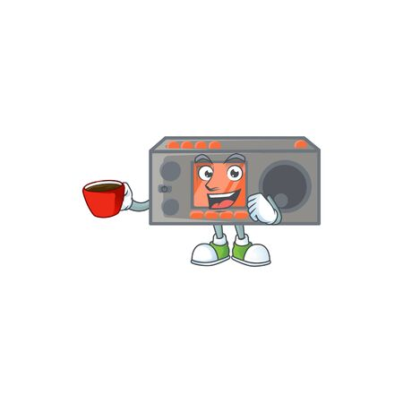 Cool radio transceiver cartoon character with a cup of coffee