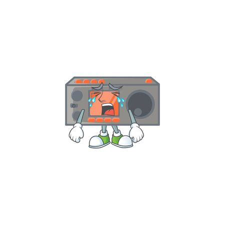A crying radio transceiver mascot design style