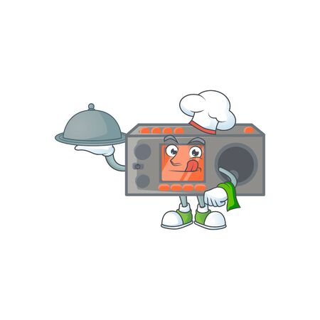 An icon of radio transceiver as a Chef with food on tray ready to serve. Vector illustration Foto de archivo - 140178949