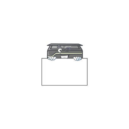 Printer cartoon character with funny face hides behind a board. Vector illustration Ilustração