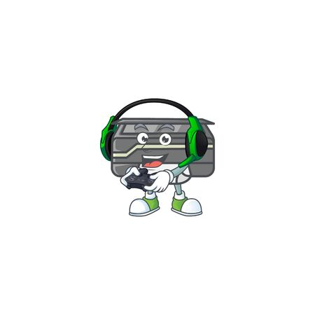 Printer cartoon picture play a game with headphone and controller. Vector illustration