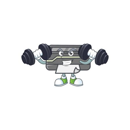 Printer mascot icon on fitness exercise trying barbells Ilustrace