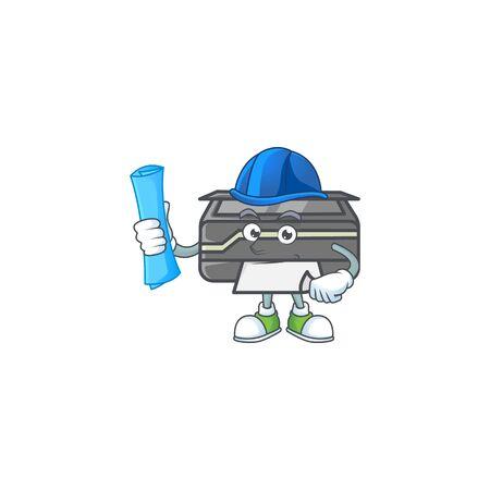 Elegant Architect printer having blue prints and blue helmet