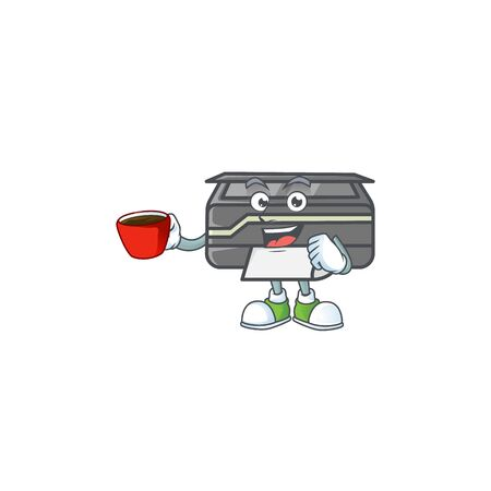 Cool printer cartoon character with a cup of coffee