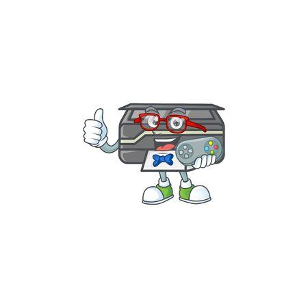 An attractive gamer printer cartoon character design Illustration