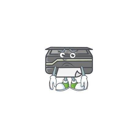 Cartoon character of a printer having an afraid face