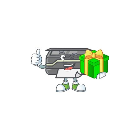 Cute printer character holding a gift box 向量圖像