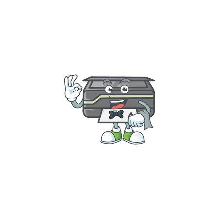 A printer cartoon mascot working as a Waiter Illustration