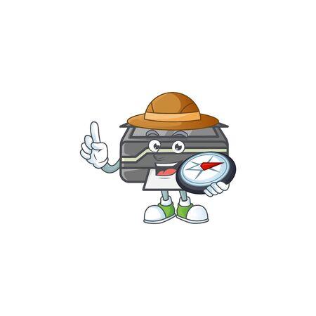 A printer explorer cartoon design having a compass