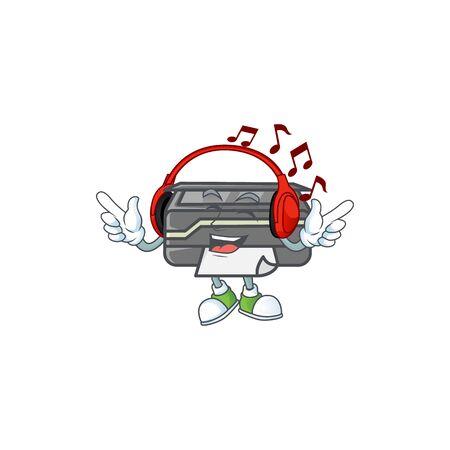 Printer cartoon character design Listening music on a headset