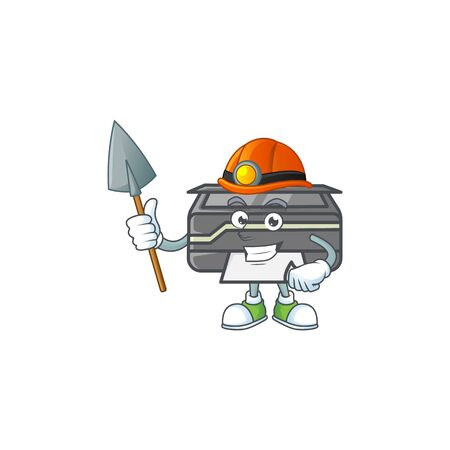 Cool clever Miner printer cartoon character design style