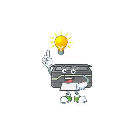 Smart printer cartoon character has an idea. Vector illustration