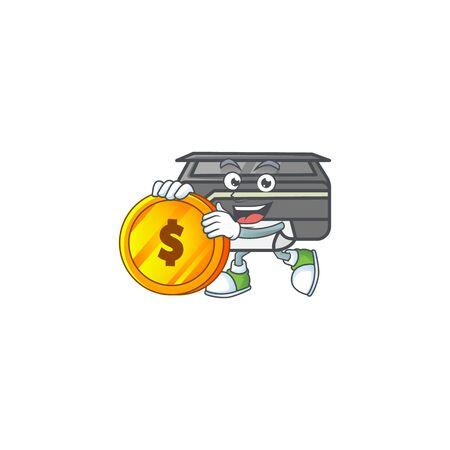 an elegant printer mascot cartoon design with gold coin. Vector illustration