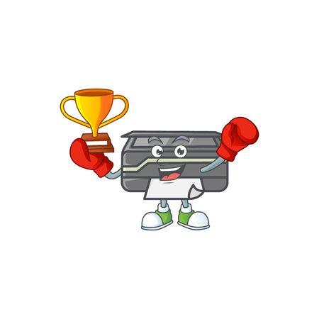Super cool Boxing winner of printer in mascot cartoon design. Vector illustration