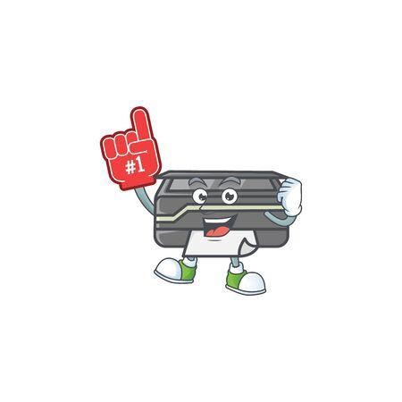 A cartoon design of printer holding a Foam finger. Vector illustration Illustration