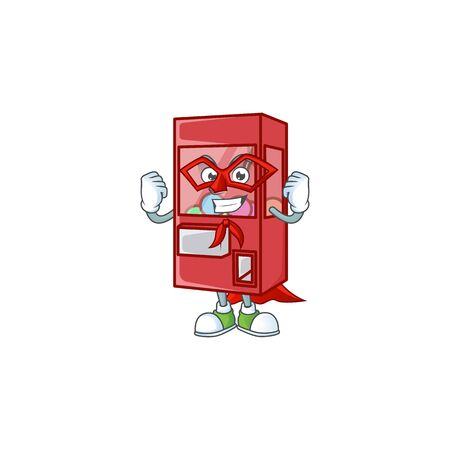 A friendly picture of toy claw machine dressed as a Super hero. Vector illustration Ilustrace