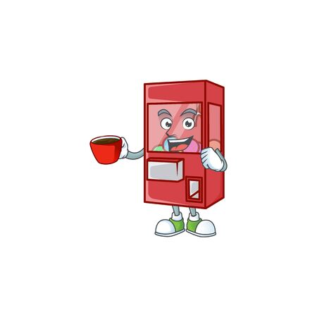 Cool toy claw machine cartoon character with a cup of coffee. Vector illustration
