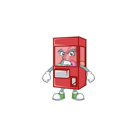 cartoon character of toy claw machine with angry face. Vector illustration