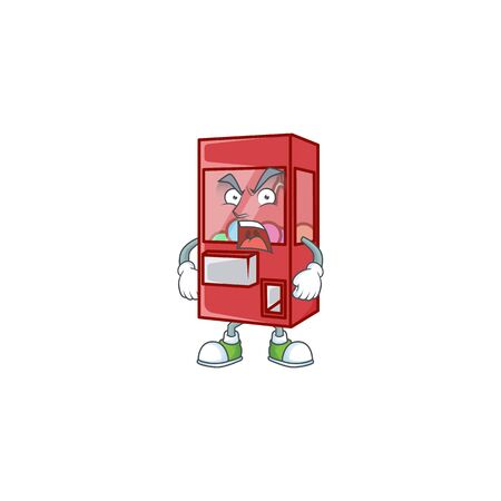 Toy claw machine cartoon character design with angry face. Vector illustration