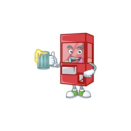 Smiley toy claw machine mascot design holding a glass of beer