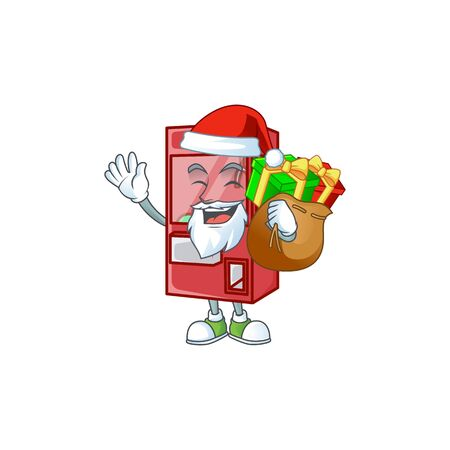 Santa toy claw machine Cartoon design having a sack of gifts. Vector illustration