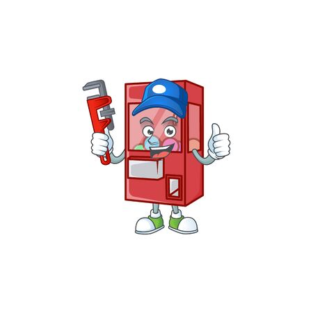 Smiley Plumber toy claw machine on mascot picture style. Vector illustration
