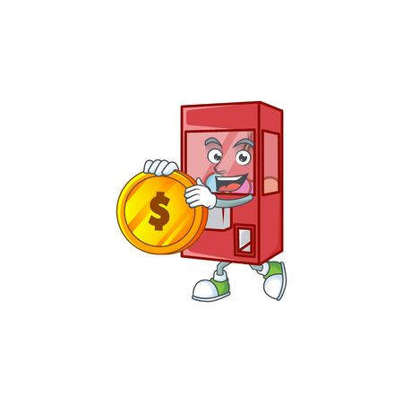 an elegant toy claw machine mascot cartoon design with gold coin. Vector illustration