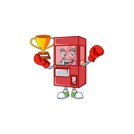 Super cool Boxing winner of toy claw machine in mascot cartoon design. Vector illustration