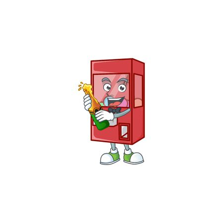 mascot cartoon design of toy claw machine having a bottle of beer. Vector illustration