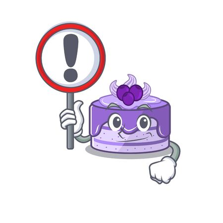 cute mascot character style of blueberry cake raised up a sign