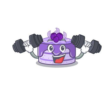 Sporty Fitness exercise blueberry cake mascot design using barbells