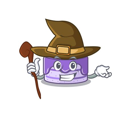 a mascot concept of blueberry cake performed as a witch