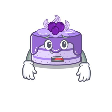 A picture of blueberry cake having an afraid face