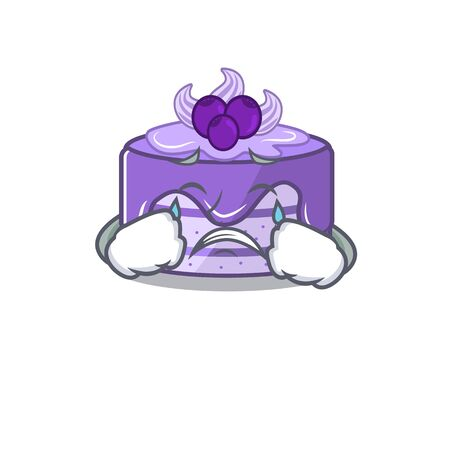 Blueberry cake cartoon character concept with a sad face