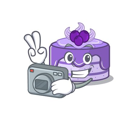 Cool Photographer blueberry cake character with a camera