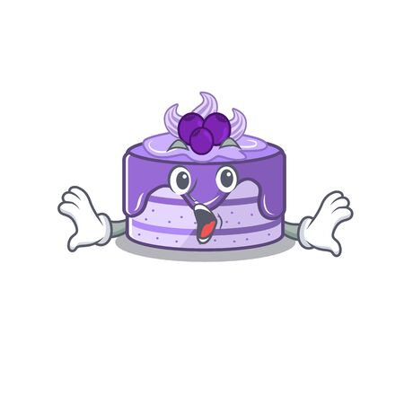 Blueberry cake mascot design concept with a surprised gesture