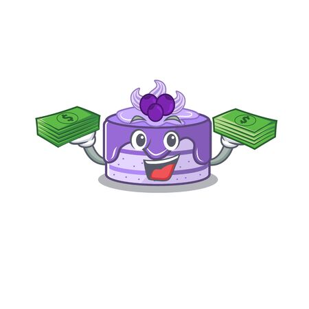 cool rich blueberry cake character having money on hands Иллюстрация