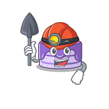 Cool clever Miner blueberry cake cartoon character design