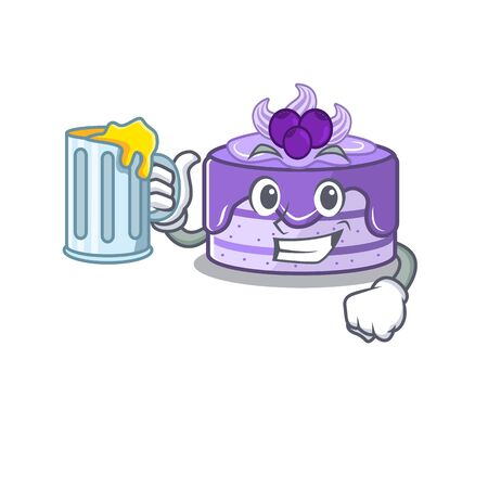 Smiley blueberry cake mascot design with a big glass Иллюстрация